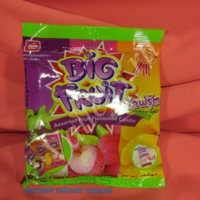 Тайские жевательные конфеты ассорти с соком личи, манго и мангостина 150гр.