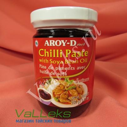 Тайская паста чили с соевым маслом от AROY-D 260гр.